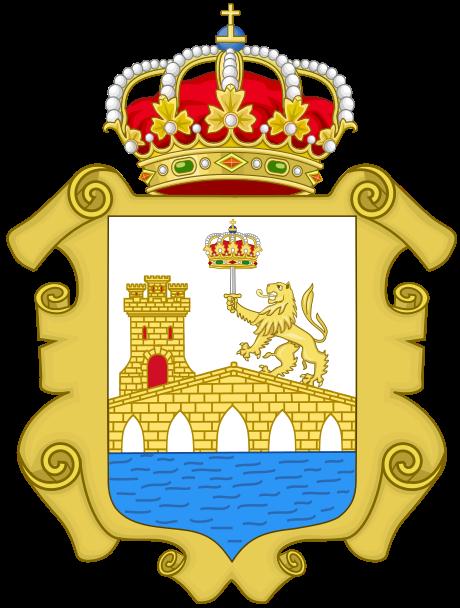 La corona sobre la espada que empuña el león, en el escudo de Ourense