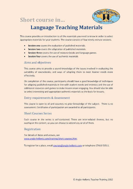 Anglo-Hellenic Teacher Training short course in using Language Teaching Materials