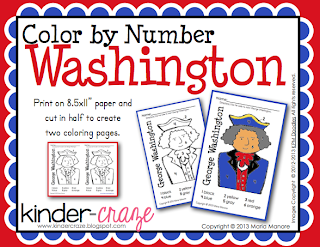 FREE color by number washington