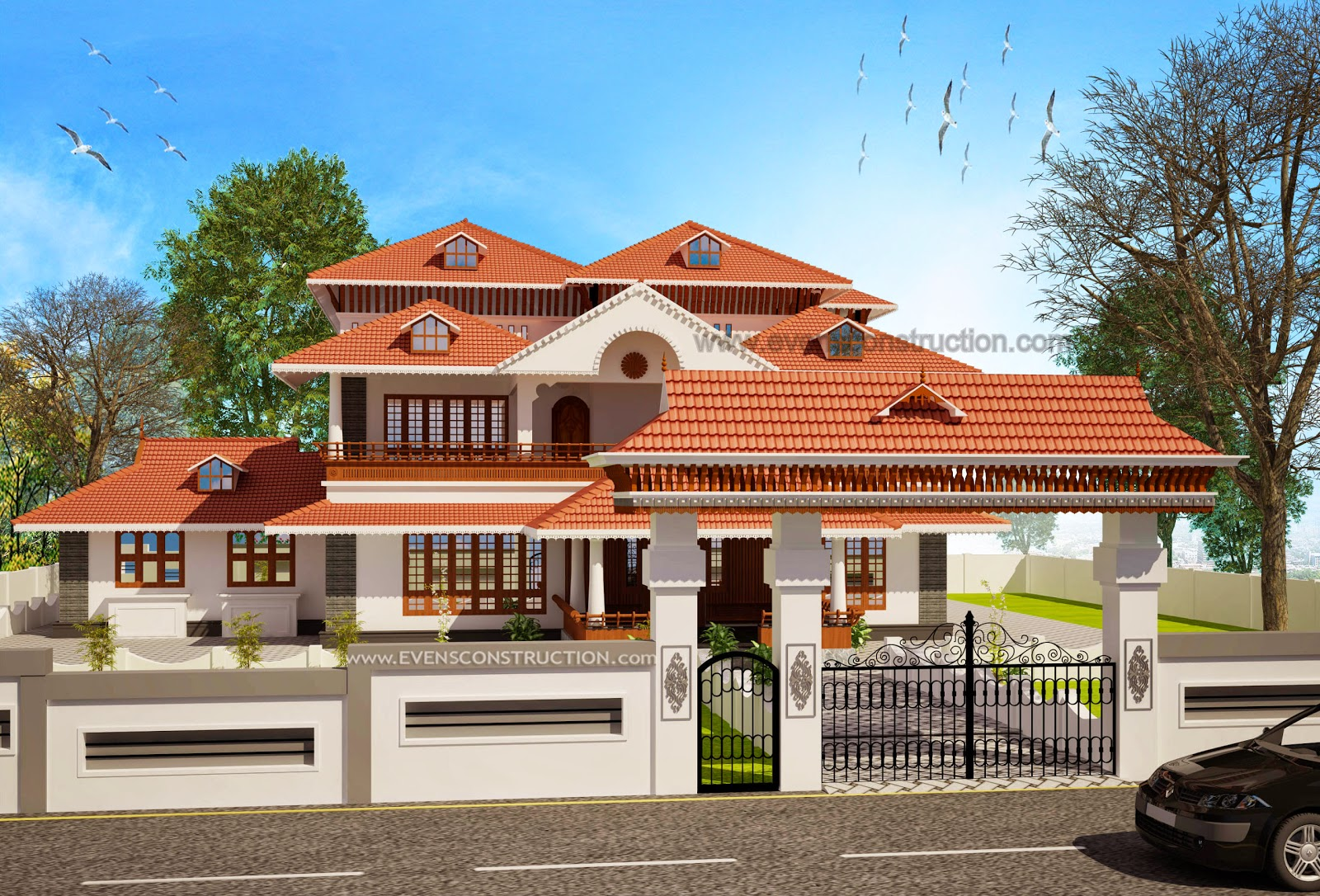 Evens construction pvt ltd kerala home with padippura for Compound home plans