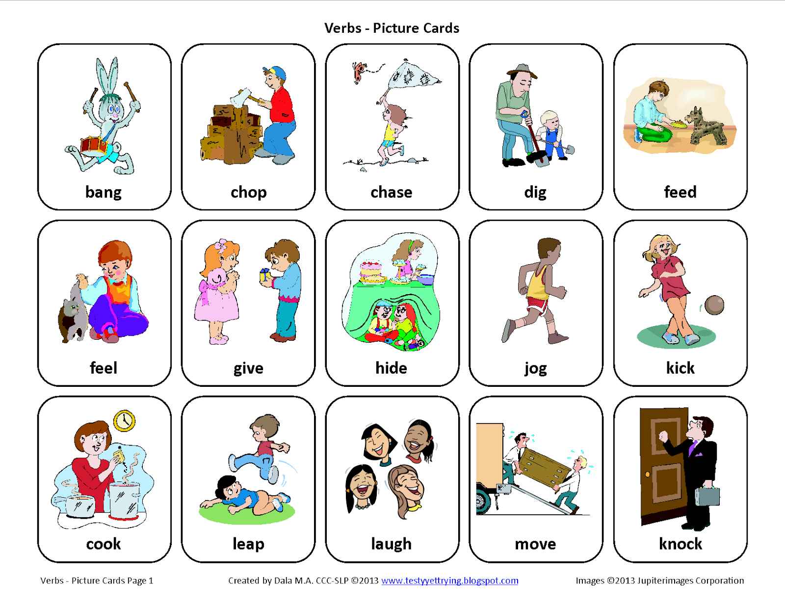 testy yet trying verbs speech therapy picture cards verbs card set