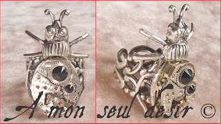Bague Steampunk Finger Ring Insecte Bug de l'an 2000 mécanisme