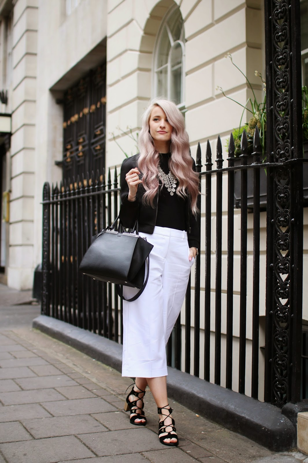 The Best Italian Restaurant in London, Novikov in Mayfair wearing Senso Black Suede Lace Up Heels, River Island White Culottes, A topshop black ribbed top, a Missguided Mesh Biker Jacket and the Fendi 3jours Tote