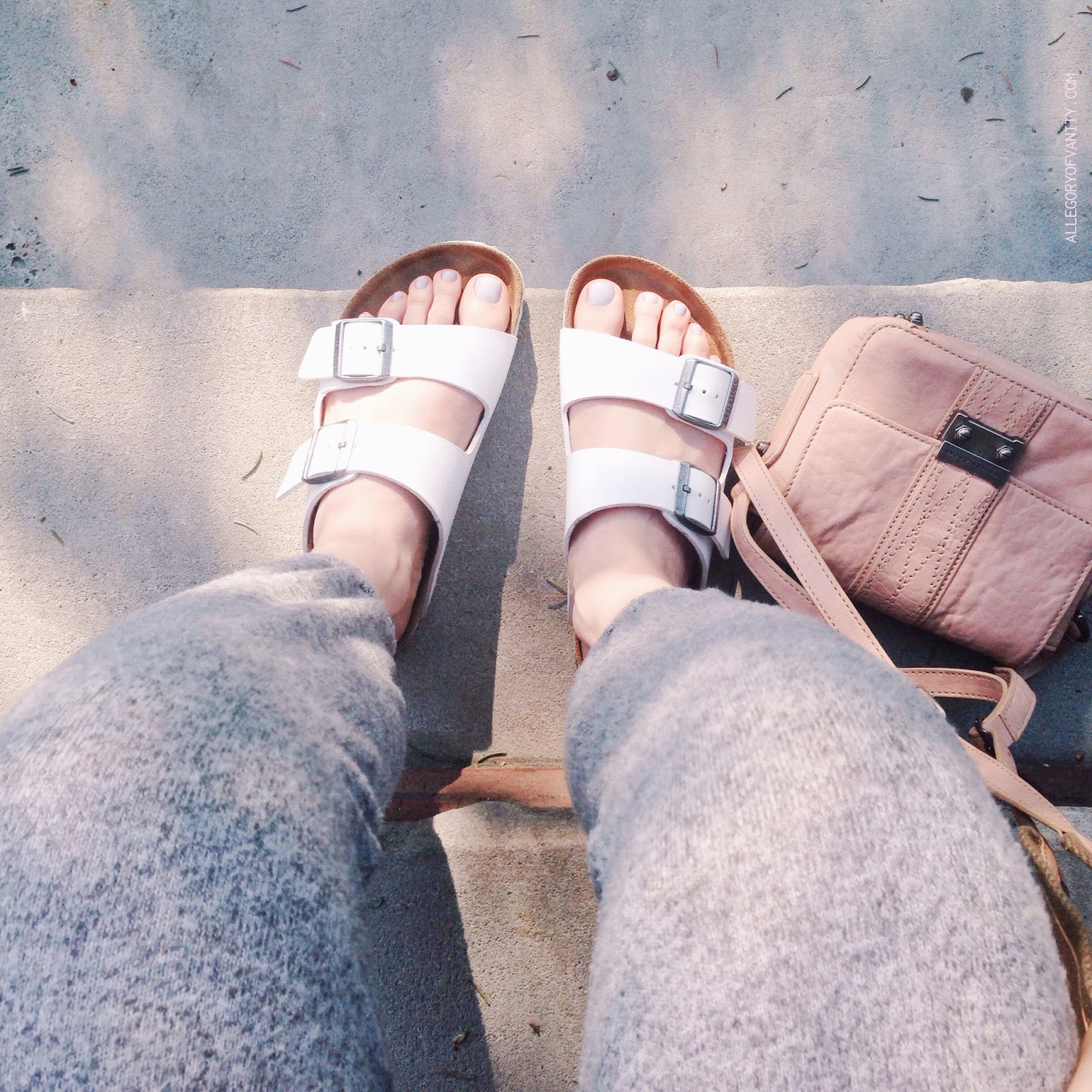 White Birkenstocks + Schuler & Sons Bag || Allegory of Vanity