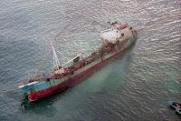 Oil slick in San Cristobal Harbor from Jessica Oil Spill