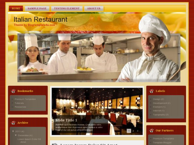Italian Restaurant Blogger Template