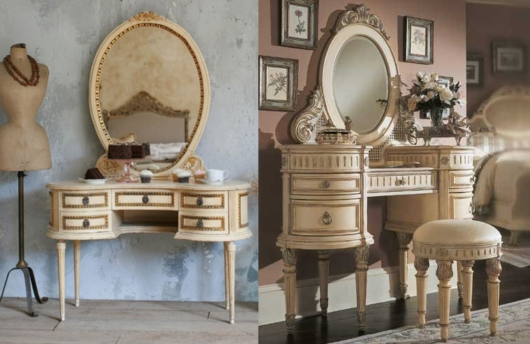Gold Vanity Table Part - 27: How About Some Vintage French Style Cream And Gold Vanity Tables? Yes,  Please!