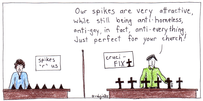 cruci-fix spikes. cartoon by robg