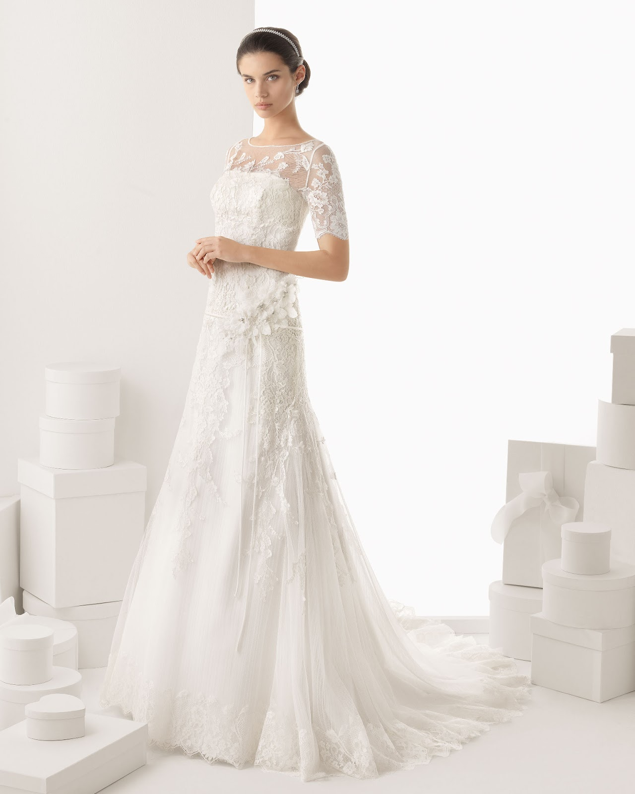 DressyBridal Wedding Dresses with Lace Long Sleeves and