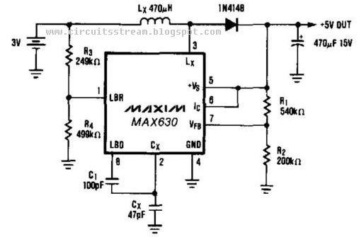 build a 3v battery to 5v dc  dc converter circuits diagram