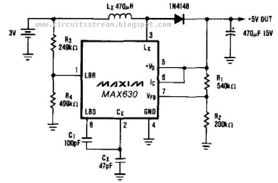 Build a 3V Battery To 5V Dc/Dc Converter Circuits Diagram