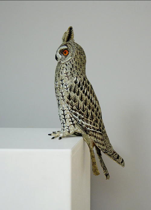 My owl barn anne lise koehler paper mache sculptures for How to make a sculpture out of paper mache