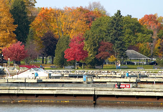 a fall scene at the Port of Orillia harbour area