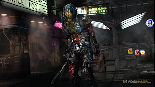 This is a Dead Space 3 Necromorph, holding a weapon and grotesque