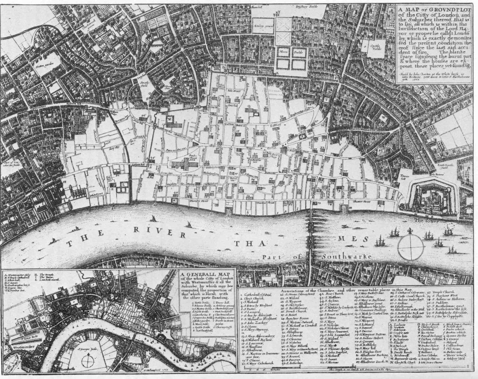 1666 Dramatische Stadtplne vom abgebrannten London