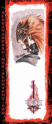 Acuarela (marcapáginas) del personaje Ágamon del juego de cartas ÉPICA: Edades Oscuras realizado por ªRU-MOR. Fantasía medieval