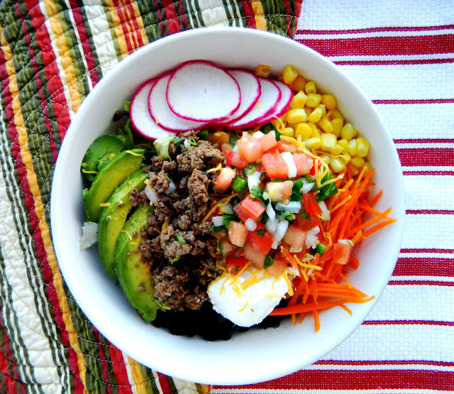 taco salad bowls with spanish rice