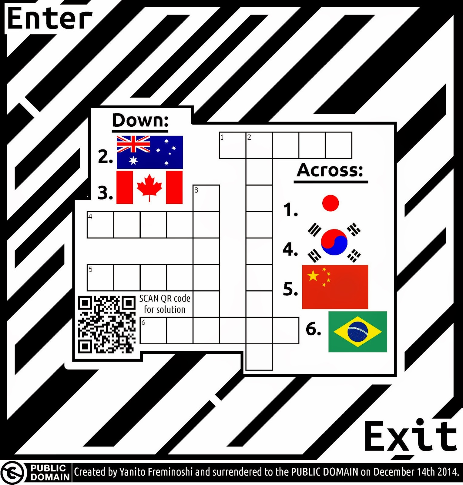 crossword puzzle maze of flags