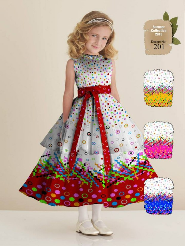 Fashion fok ajwa kids child summer lawn dress for Fabric for kids clothes