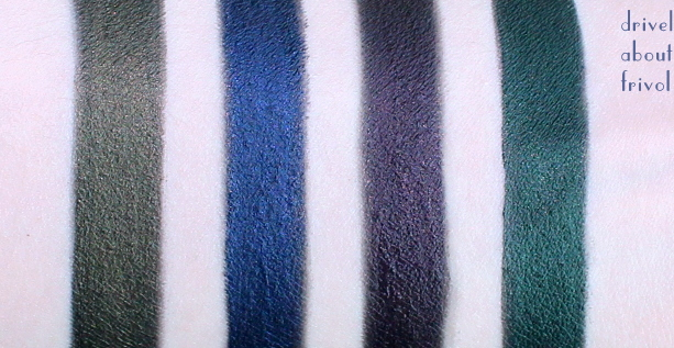 swatches YSL Effet Faux-Cils Long-Wear Cream Eyeliners 3 Bronze Black, 4 Sea Black, 5 Cherry Black, 6 Jade Black