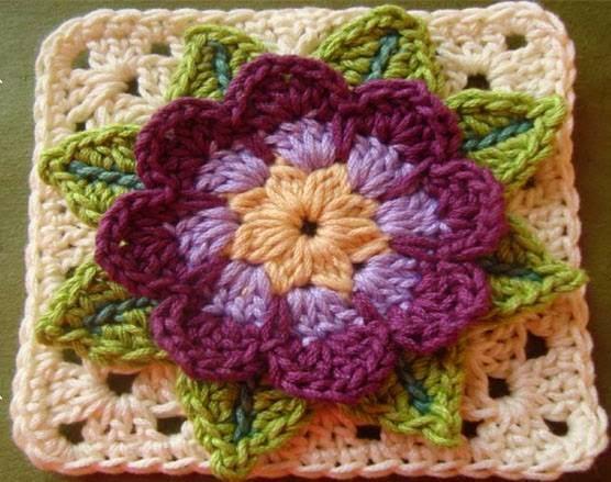 Flor tejida al crochet - con esquema