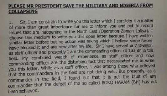 please mr president save the military and nigeria from collapsing 1 sir i am constrain to write you this letter which i consider it a matter of more than