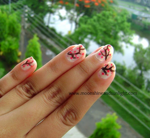 Abstract cherry blossom nail art , Indian nail art blog