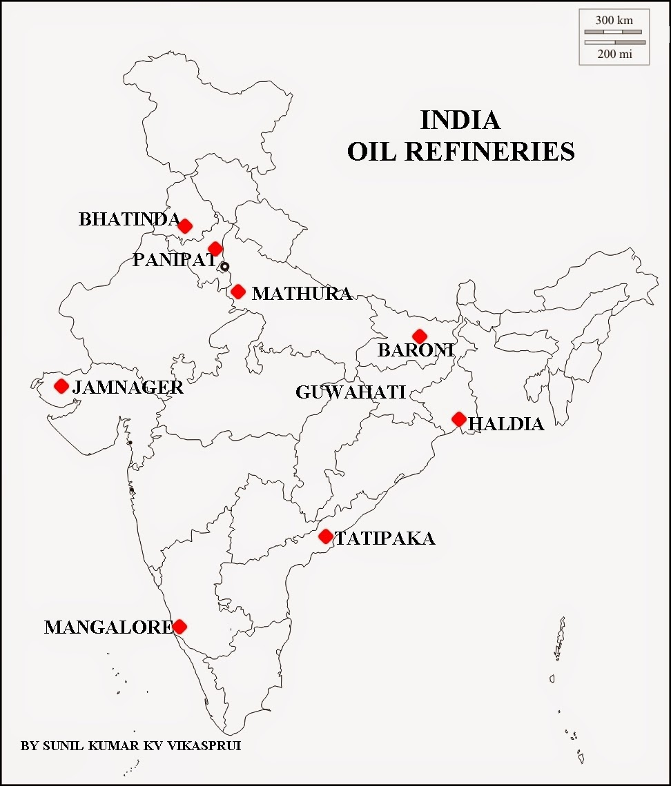 petroleum refineries in india map