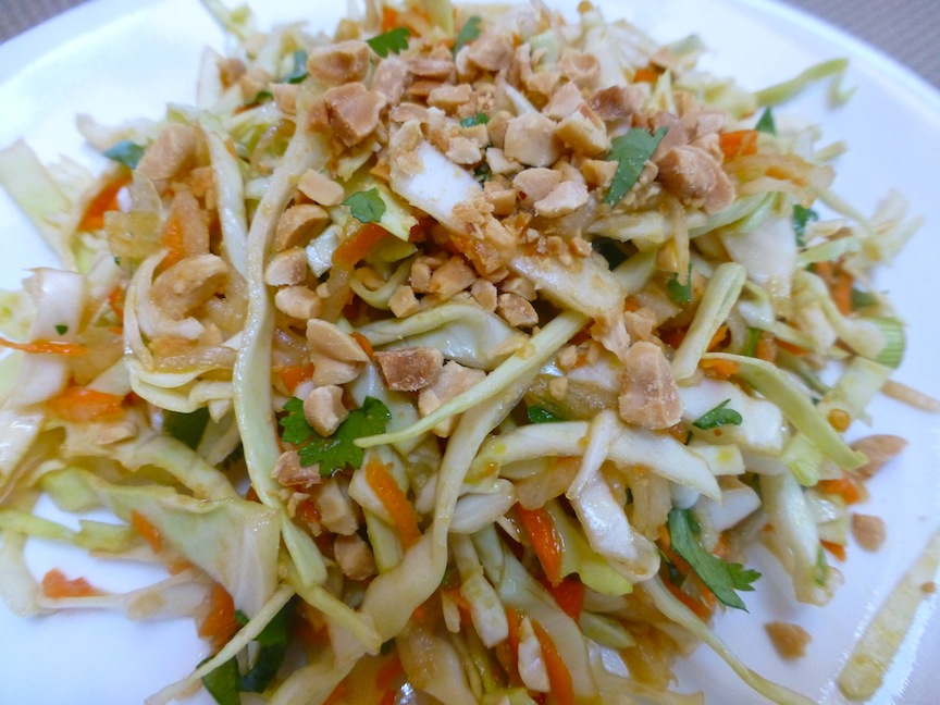 ... Cabbage, Daikon And Carrot Salad Topped With Roasted Peanuts - Vegan