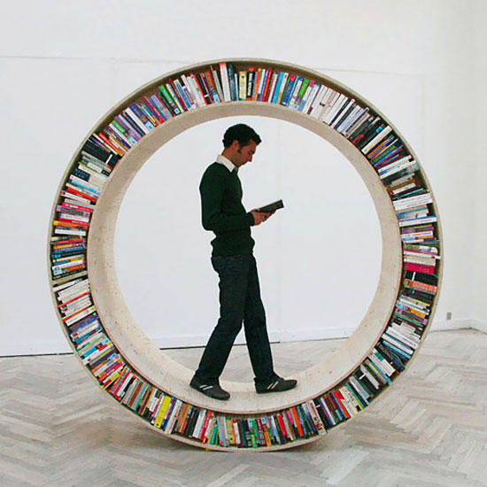 Circular Walking Bookshelf by David Garcia