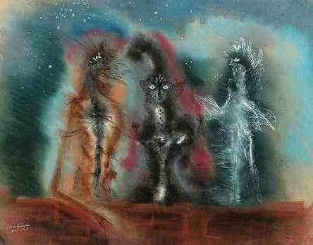 Leonora Carrington Tres gatos