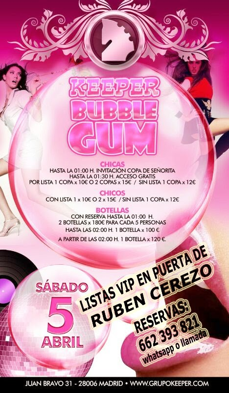 LISTAS KEEPER SÁBADO 5 DE ABRIL: BUBBLE GUM