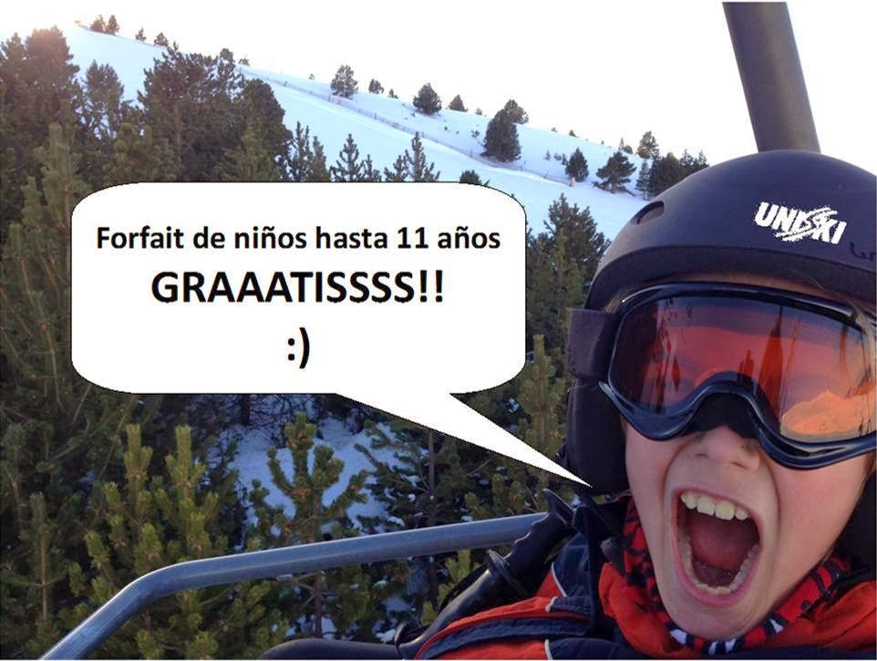 forfait niños hasta 11 años gratis para esquiar en andorra