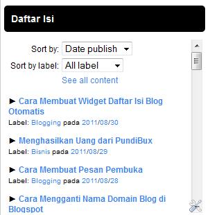 Gambar widget daftar isi blog otomatis