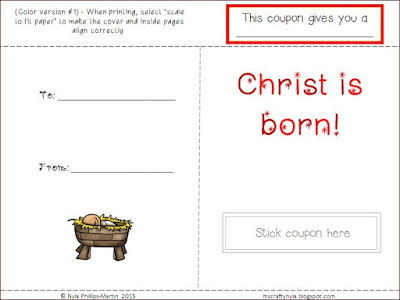 Nativity Christmas Coupon Cards - black and white