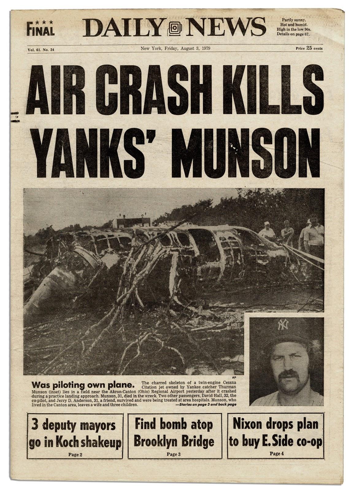 Daily News Aug 3, 1979 Thurman Munson plane crash