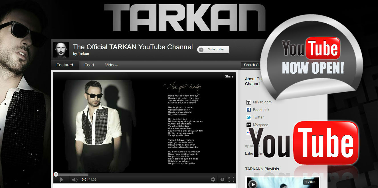Tarkan's official YouTube channel now open