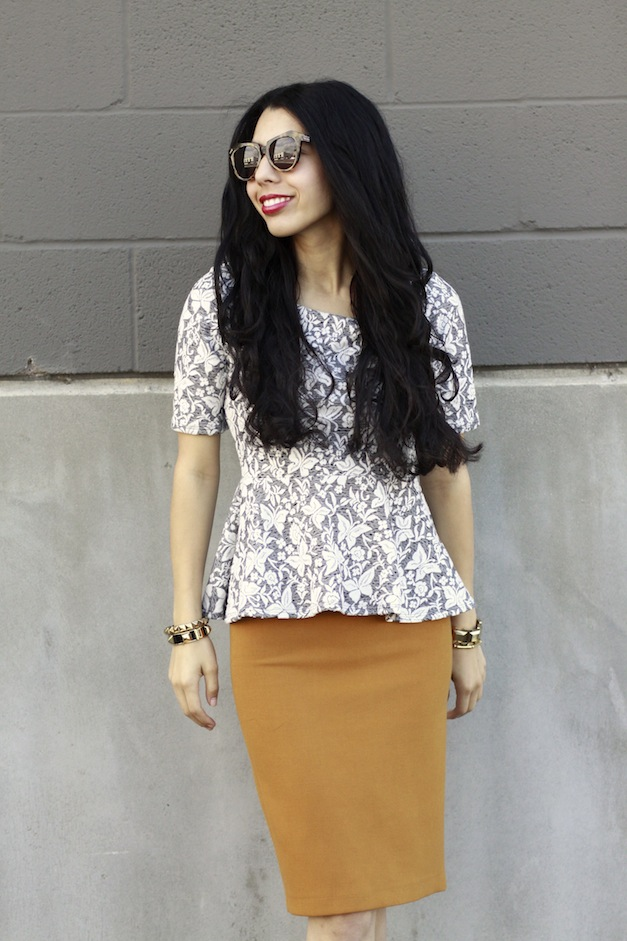 Brocade, Peplum top, Karen Walkers, Zara Pencil Skirt, J.crew Viv pumps,