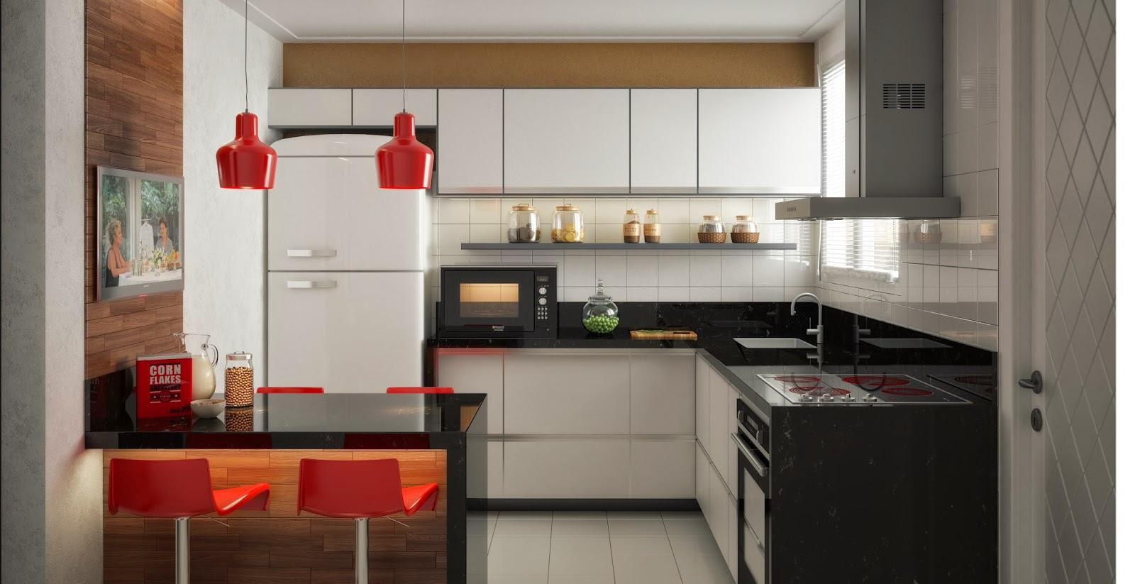 #AB3220  3D: Render 3D Realista de Cozinha Planejada Simples em Planaltina GO 1600x823 px Projeto Cozinha Planejada Simples #2673 imagens