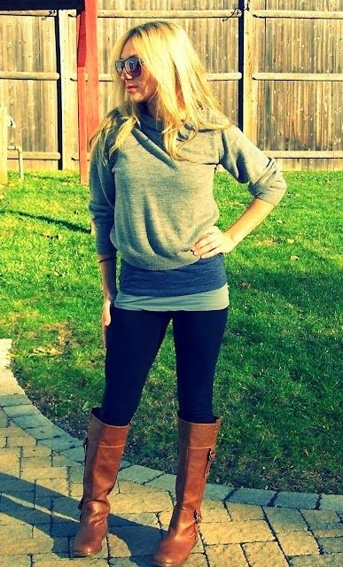 Grey Sweater, Black Leggings And Brown Long Boots