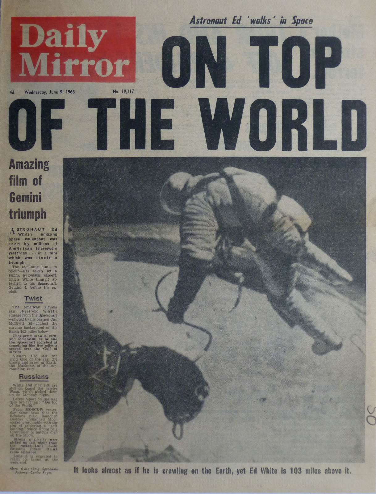 hold the front page random cutting us space walk 1965