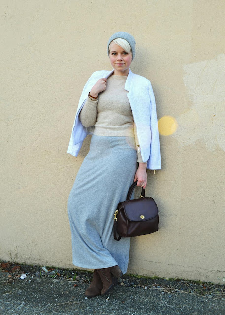 fleur d'elise, seattle, winter, fashion, blonde, pixie cut, coach purse