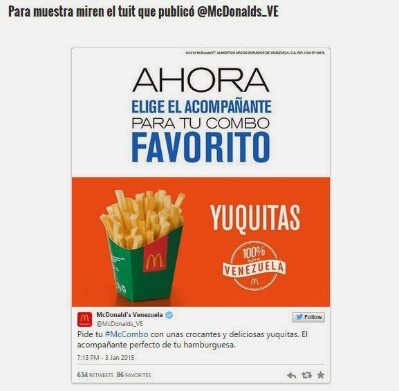 Mcdonald's Como lo quieres con YUCA o con YUCA?? Crisis en VENEZUELA