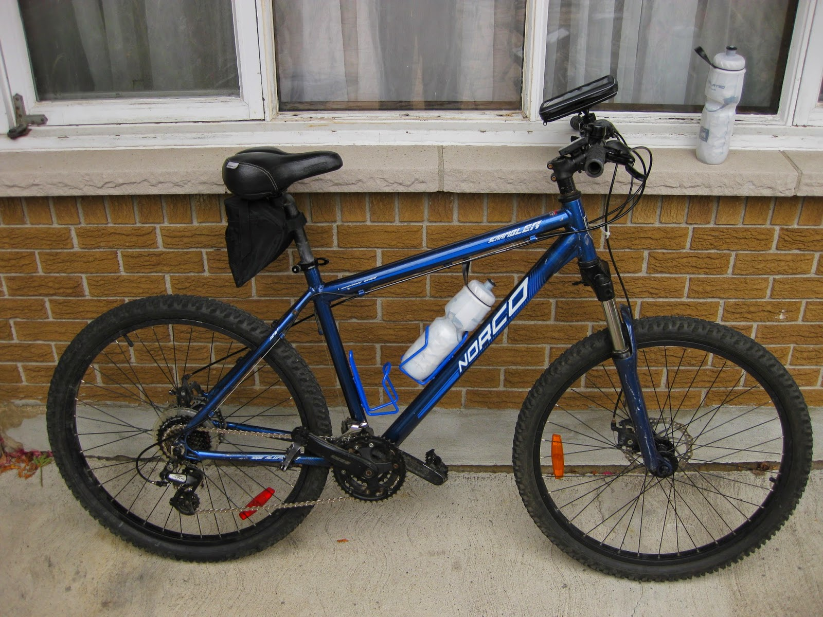 A used Norco Scrambler, blue in colour, to be used as my new ice bike project, Project Subzero.