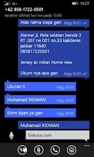 Konfirmasi alamat lengkap Muhammad Ridwan oleh enkosa sport lokasi di jakarta toko baju bola terpercaya