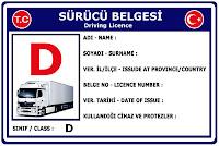 D Sınıfı Sürücü Belgesi Ehliyet