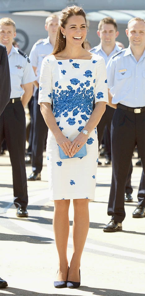 Kate's Blue Floral Print Dress