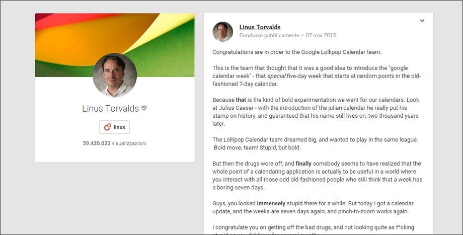 Google Plus - Linus Torvalds