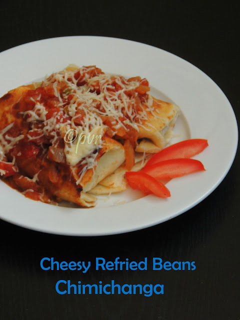 Refried beans Chimichanga, Cheesy beans chimichanga