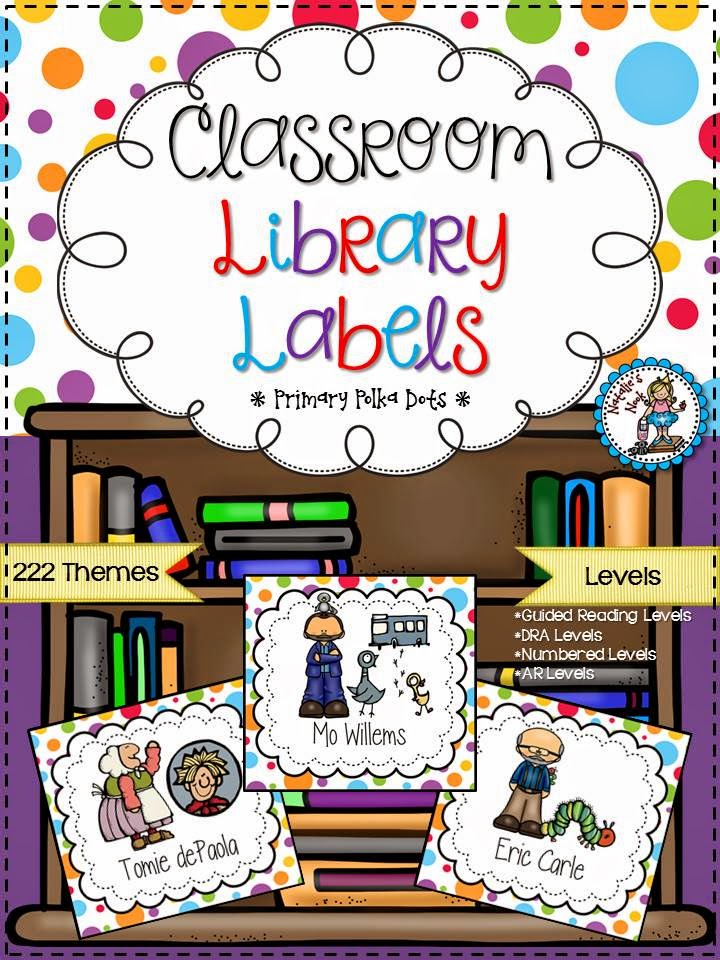 http://www.teacherspayteachers.com/Product/Classroom-Library-Labels-Primary-Polka-Dots-1301067